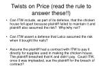 twists on price read the rule to answer these