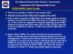 coa pars label credit