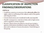 classification of inspection findings observations