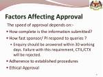 factors affecting approval
