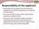 responsibility of the applicant