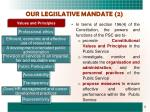 our legislative mandate 2