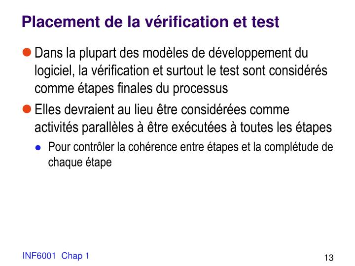 Placement de la vérification et test