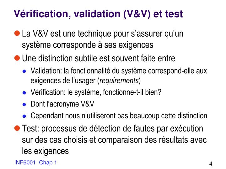 Vérification, validation (V&V) et test