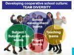 developing cooperative school culture team diversity