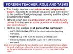 foreign teacher role and tasks
