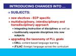 introducing changes into2