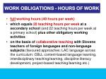 work obligations hours of work
