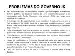 problemas do governo jk