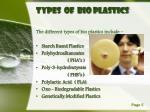 types of bio plastics