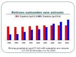 retirees outnumber new entrants