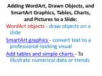 adding wordart drawn objects and smartart graphics tables charts and pictures to a slide