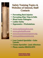 safety training topics websites of interest staff contacts