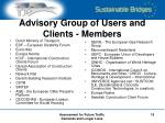 advisory group of users and clients members