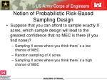 notion of probabilistic risk based sampling design