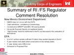 summary of ri fs regulator comment resolution