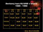 devizov kurz k usd v letech 1989 1990