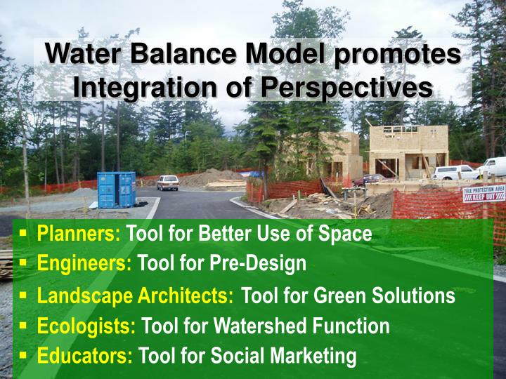 Water Balance Model promotes Integration of Perspectives