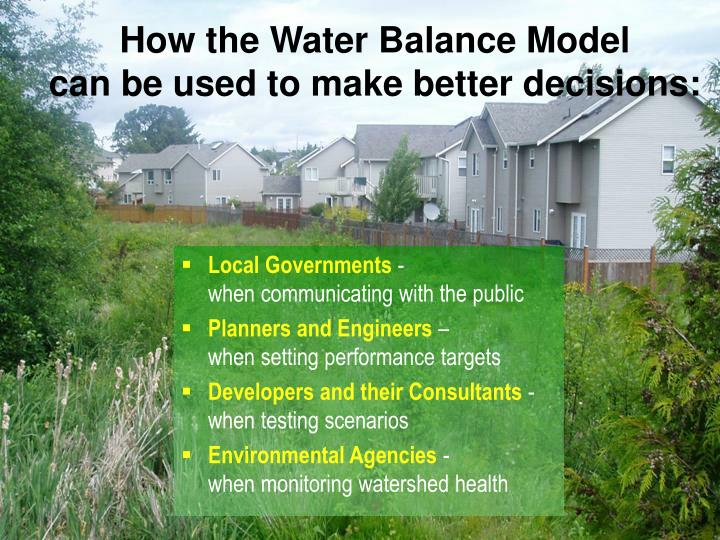 How the Water Balance Model