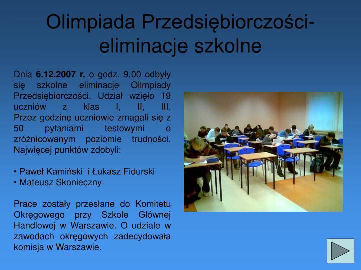 Olimpiada Przedsiębiorczości- eliminacje szkolne