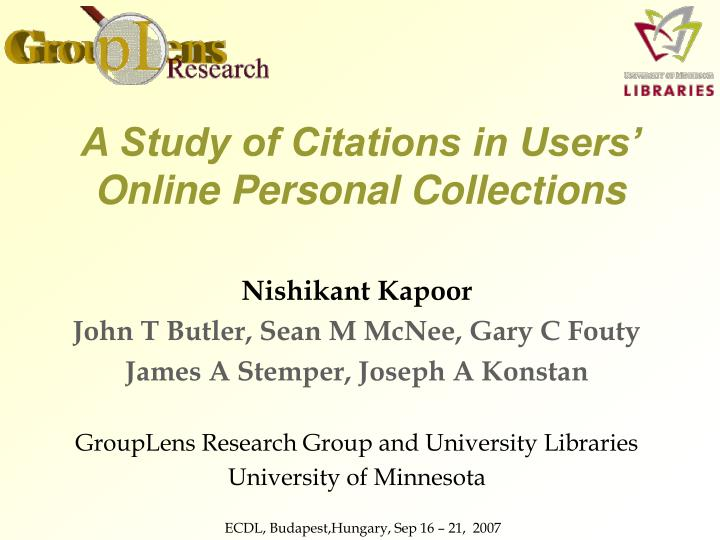 a study of citations in users online personal collections n.