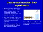unsaturated transient flow experiments
