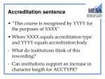 accreditation sentence