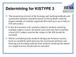 determining for kistype 3