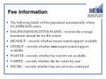 fee information