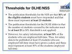 thresholds for dlhe nss