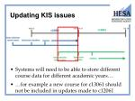 updating kis issues