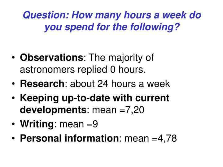 Question: How many hours a week do you spend for the following?