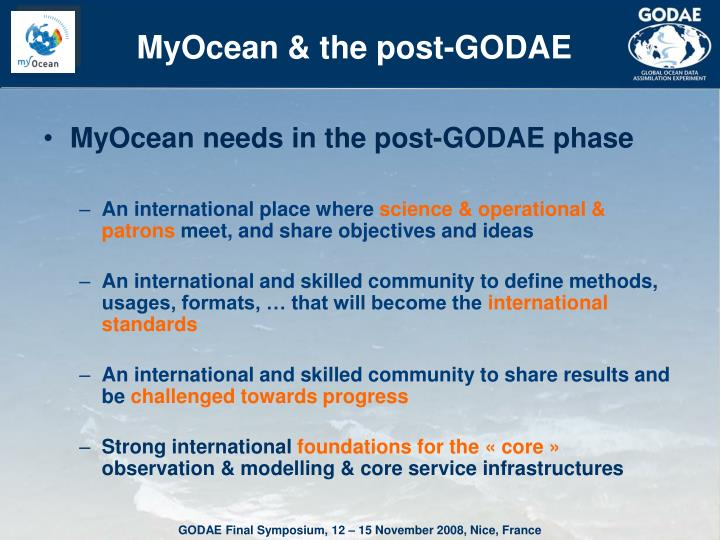 MyOcean & the post-GODAE