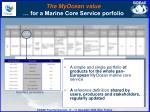 the myocean value for a marine core service porfolio