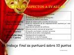 tabla de aspectos a evaluar