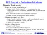 ppp prequal evaluation guidelines