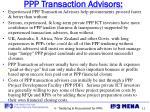 ppp transaction advisors
