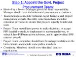 step 1 appoint the govt project procurement team