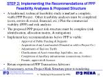 step 2 implementing the recommendations of ppp feasibility analyses proposed structure