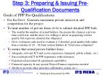 step 3 preparing issuing pre qualification documents