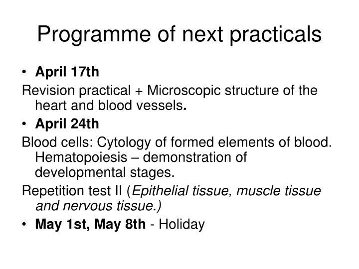 programme of next practicals n.