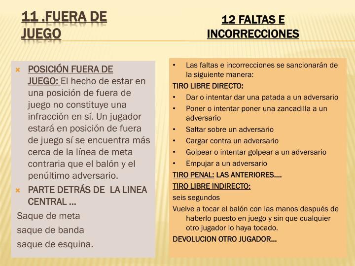 POSICIÓN FUERA DE JUEGO: