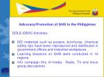 advocacy promotion of ghs in the philippines