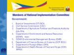 members of national implementation committee