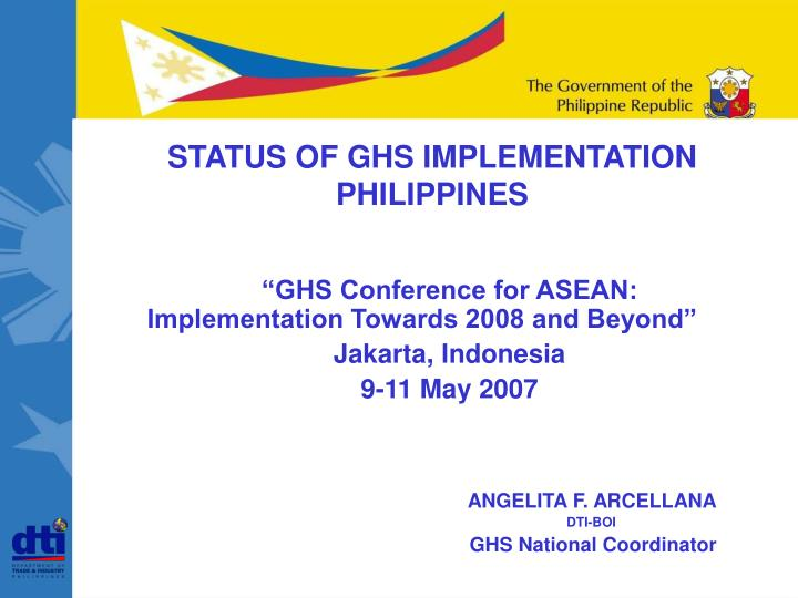status of ghs implementation philippines n.
