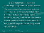 e procurement success technology integration to work process