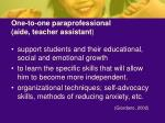 one to one paraprofessional aide teacher assistant