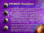 promoe requisitos