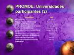 promoe universidades participantes 2
