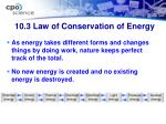 10 3 law of conservation of energy